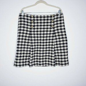 Talbots  Black & Cream Buffalo Plaid Wool Skirt
